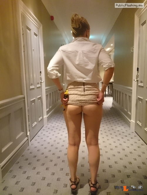 No panties hotel hallway flash from blonde hot wife Public Flashing