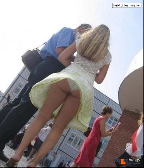 Voyeur upskirt panties photo of an amateur blonde Public Flashing
