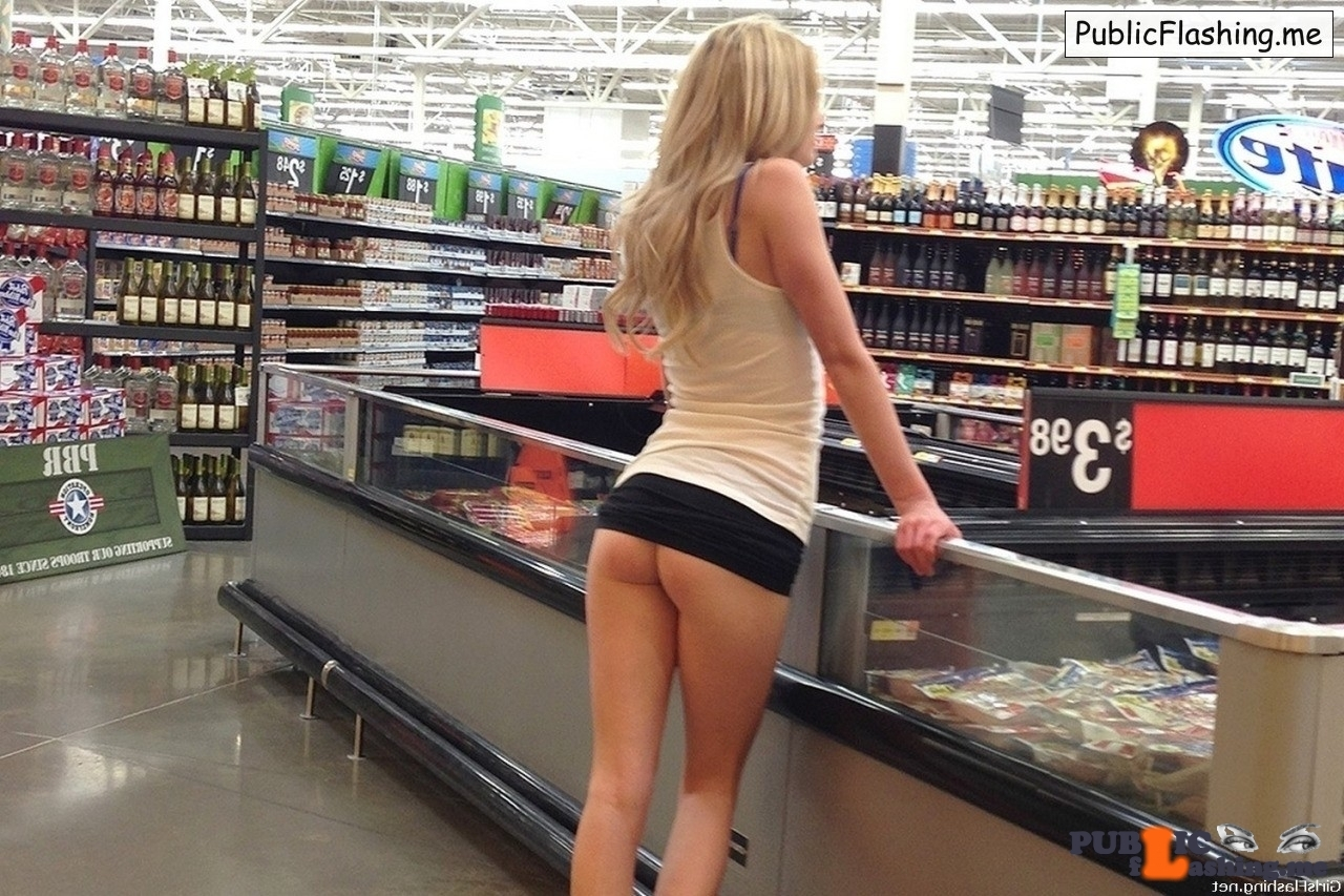 Ass flashing in supermarket hot blond girlfriend