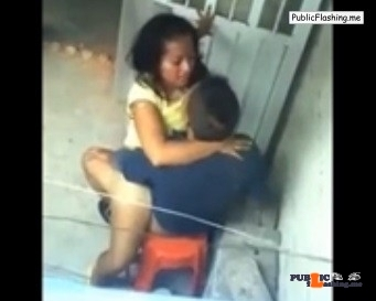 Teen couple caught in act by voyeur on balcony VIDEO