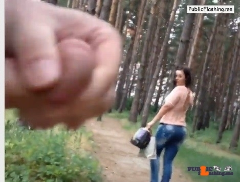 Girl watching guy jerking in forest VIDEO