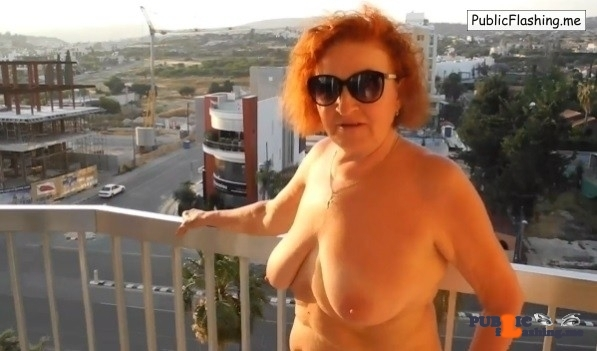 Mature redhead nude on balcony amateur VIDEO