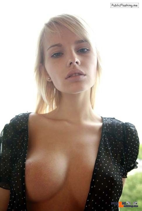 Desirable blonde big boob nipple slip