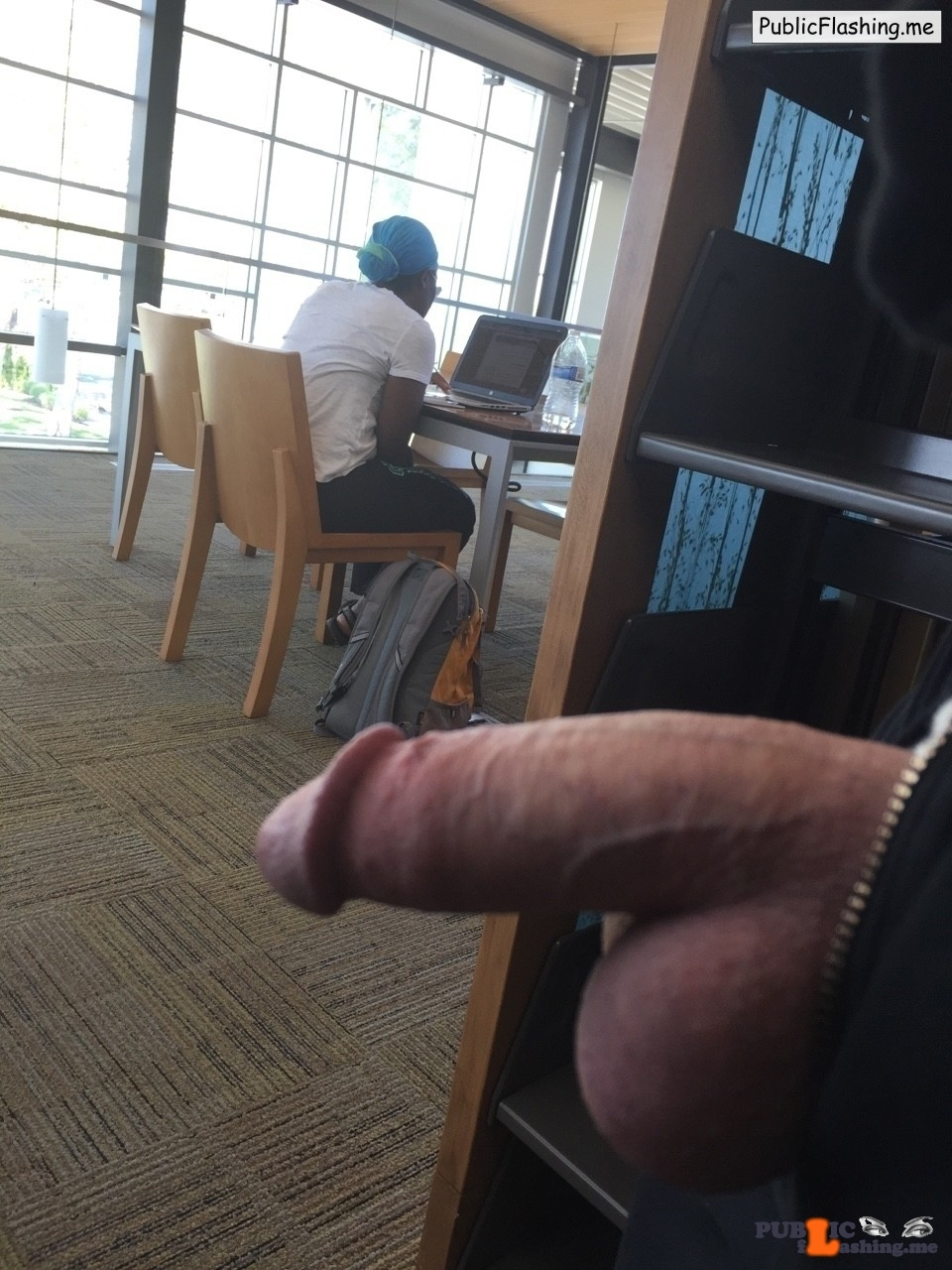 Flashing Family Jewels in internet cafe for ebony girl