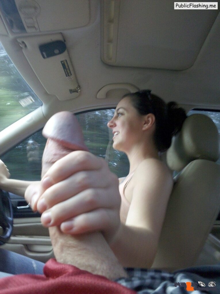 Beautiful GF is driving a car and giving hanjob Public Flashing
