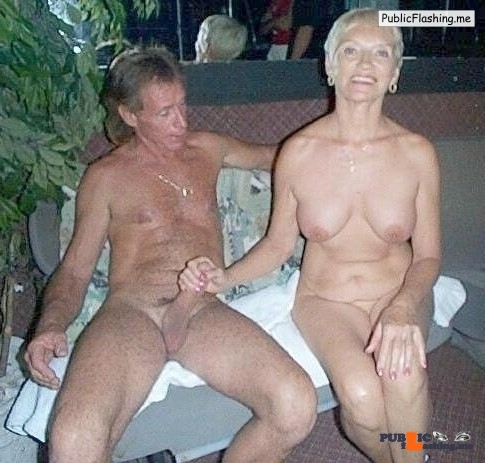 Nude mature couple handjob in pub