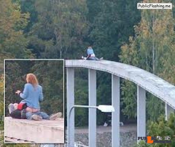Public sex on an arch of the bridge in Czech Republic Public Flashing