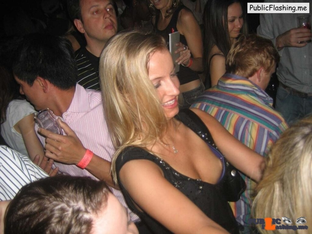 Nice nip slip on college party Public Flashing