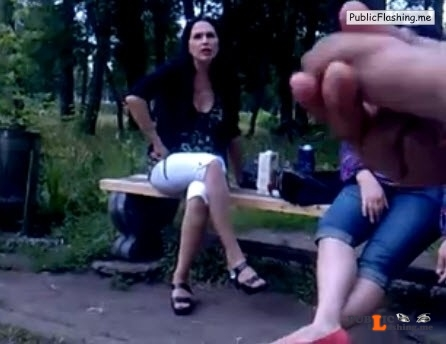 Dick flash and cum for two strange wives in park VIDEO Public Flashing