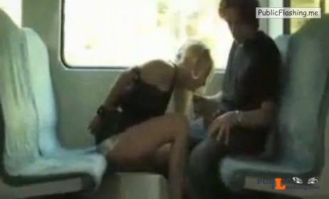 Slave blonde blowjob in train VIDEO Public Flashing