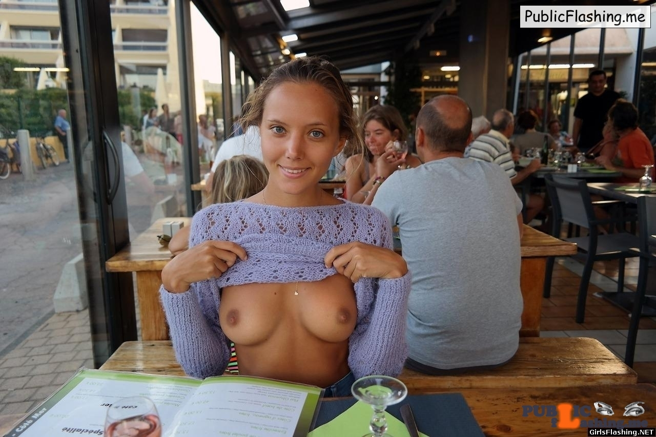 Teen Katya Clover purple sweater boobs flash in restaurant Public Flashing
