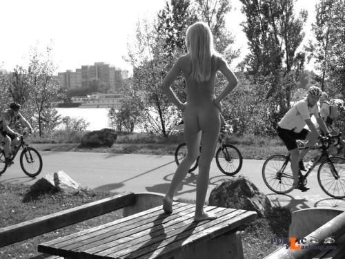 Public nudity photo charleshollander:Route Checkpoint *** model: Judita from... Public Flashing