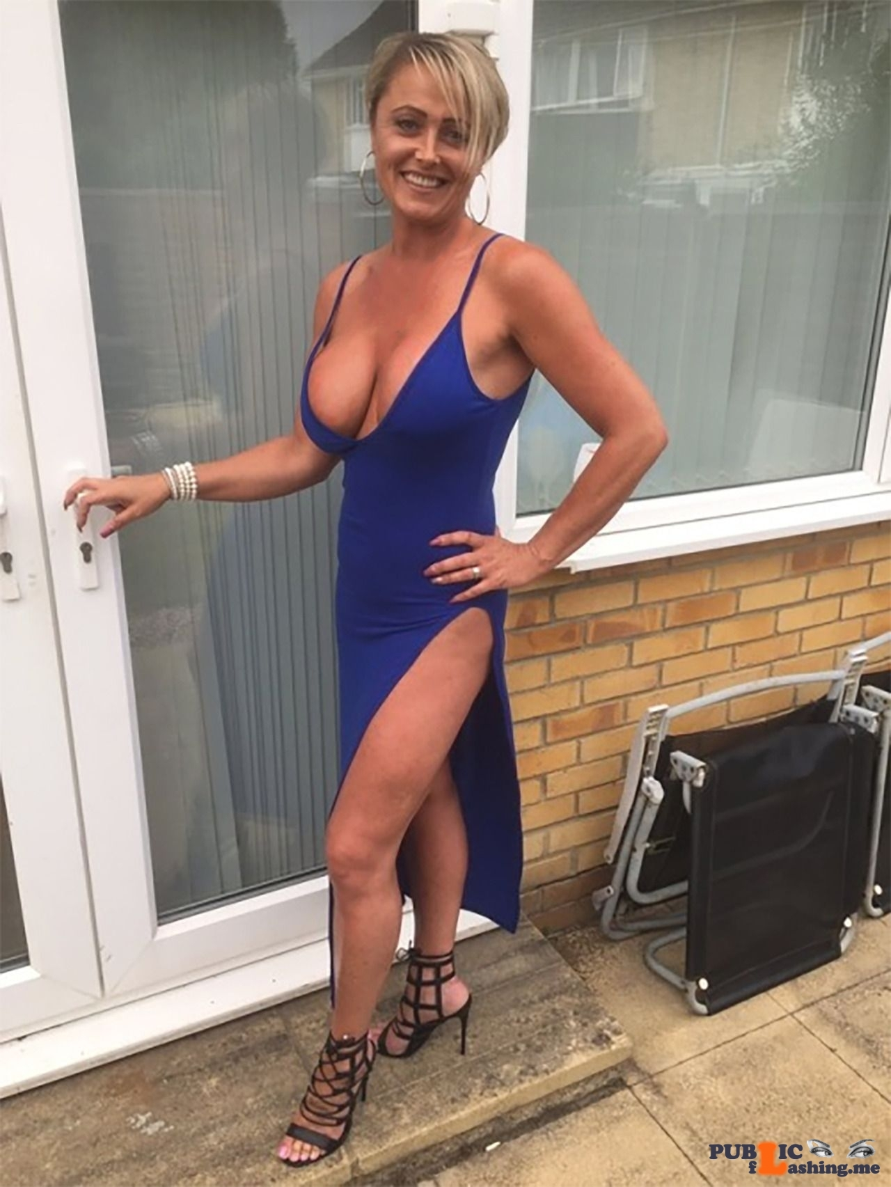 Braless Chav mom in long blue evening dress