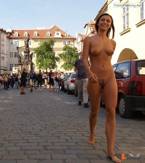 Public nudity photo girls naked outdoors:Entertaining the tourists Follow me for... Public Flashing