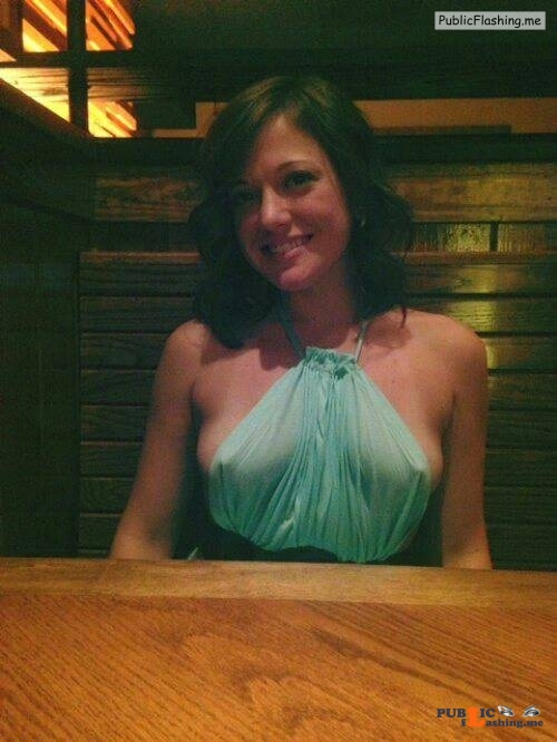 Exposed in public More breast than dress… Public Flashing