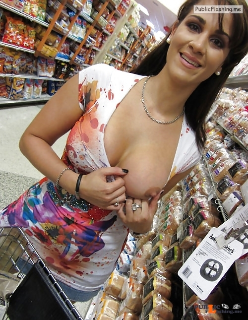 So beautiful brunette one boob out in store Public Flashing