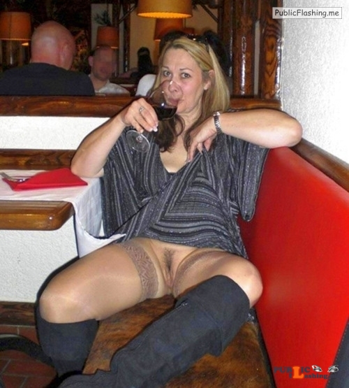 Mrs is drinking wine and flashing hairy cunt at restaurant Public Flashing