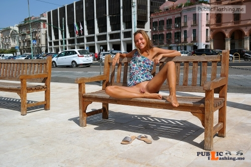 Katya Clover sunbathing sweet shaved pussy in public street Public Flashing
