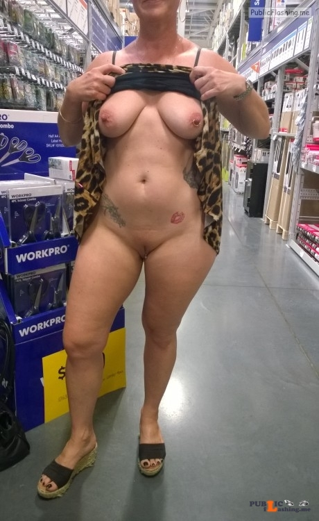 No panties neddyndragonfly: Having some fun at the hardware store. pantiesless Public Flashing