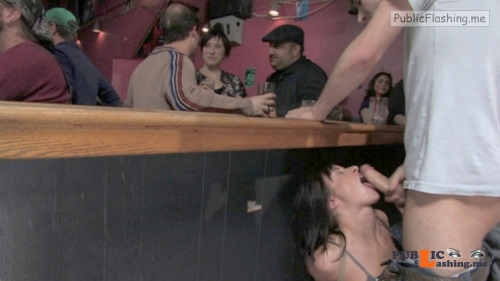 Exposed in public Behind the bar… Public Flashing