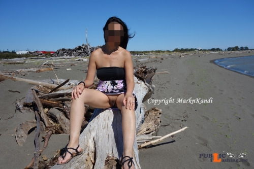 No panties marknkandy: We love going to the beach.  Too bad there aren't... pantiesless Public Flashing