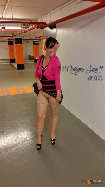 No panties morgane love: Naughty Morgane showing her shaved pussy in the... pantiesless Public Flashing