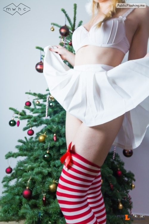 No panties mywishhercommand: Santa's little helper came out to play…Merry... pantiesless Public Flashing