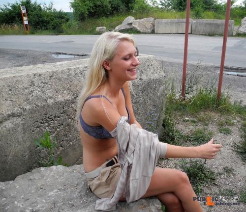 Public nudity photo outdoornudeselfpics:Cute Blonde shy public Strip Follow me for... Public Flashing