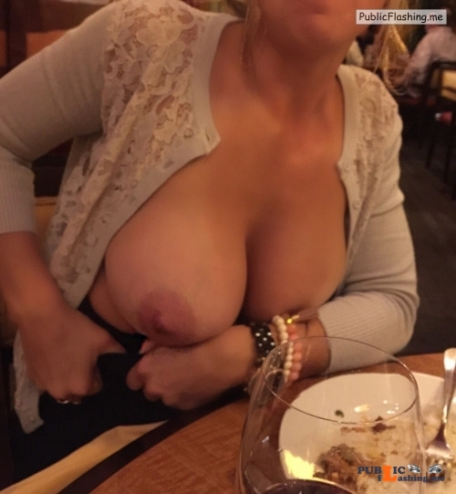 Exposed in public sexxxaholic:Flashing the husband at dinner. The waiter caught... Public Flashing