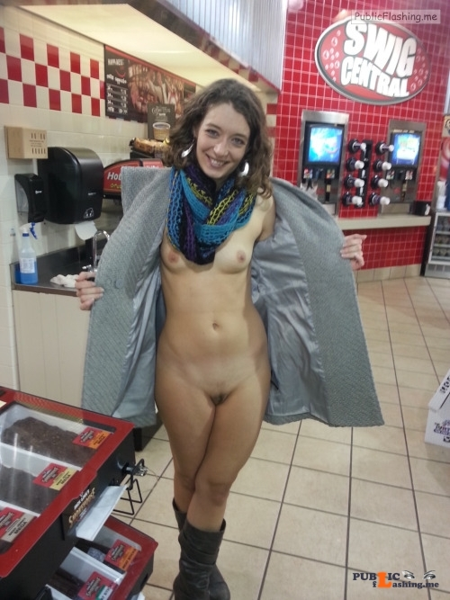 Flashing in public store No time to get dressed before you run to the convenience store... Public Flashing