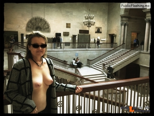 Exposed in public Enjoying a day out at the Art Institute of Chicago. Thank you... Public Flashing