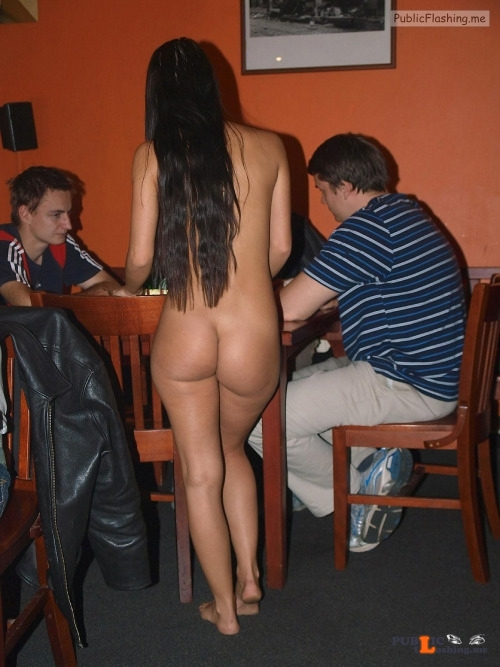 Public nudity photo kinkissx: beautiful naked waitress serving and chatting with... Public Flashing