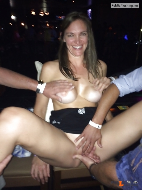 Exposed in public Bar top manhandling… Public Flashing