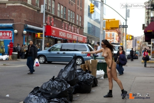 Public nudity photo exposed on public:Take out the trash Follow me for more public... Public Flashing