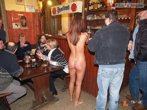 Public nudity photo kinkissx:naked waitress in a bar Follow me for more public... Public Flashing