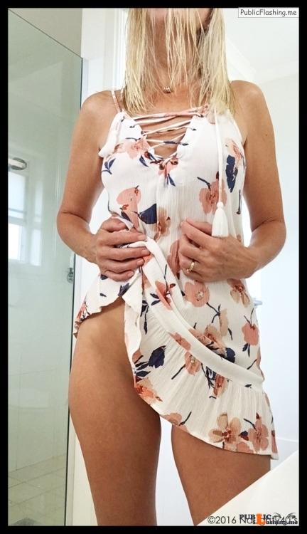 No panties naughty40s: I Shot MyselfSummer Dress Selfies (5) pantiesless Public Flashing