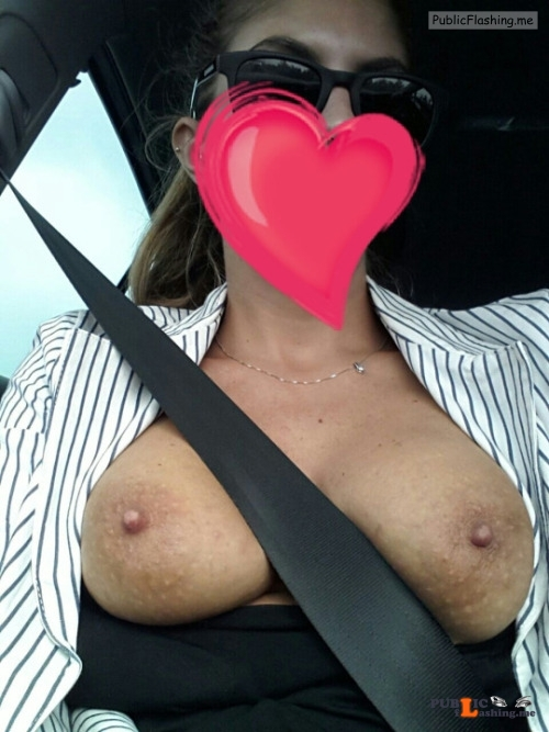 Outdoor nude selfshot Car boob selfies Public Flashing