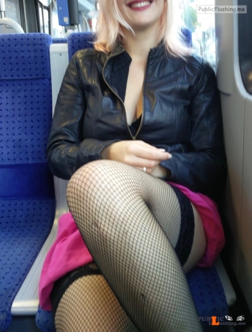 No panties sharinglilith: Just a slut on a tram. pantiesless Public Flashing