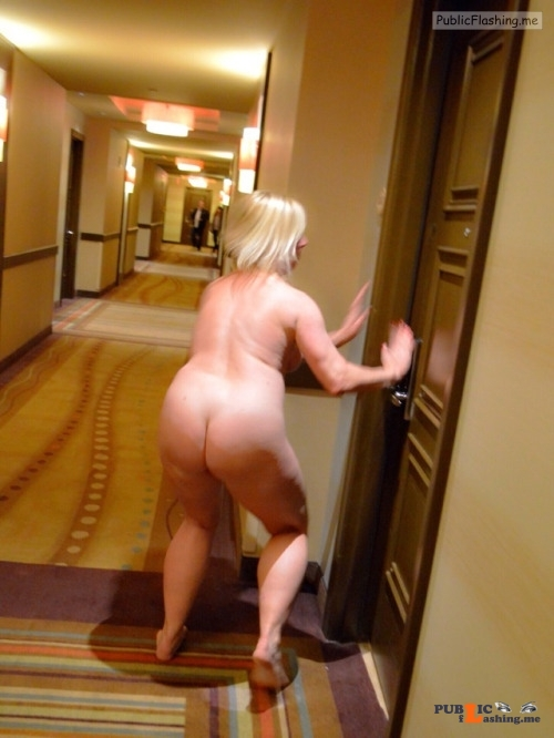 Mature blonde caught naked in hotel hall Public Flashing