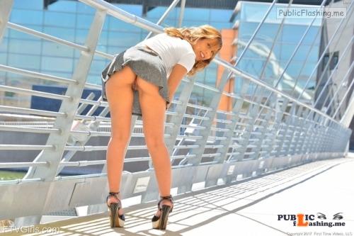 FTV Babes upskirt High heels, short skirt, great ass, no panties, fantastic pussy,... Public Flashing