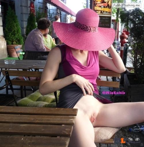 No panties miaexhib: Upskirt at the cafe pantiesless Public Flashing