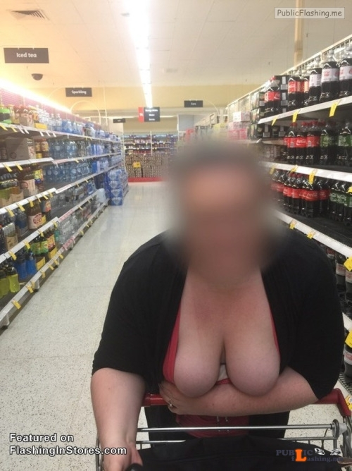 Flashing in public store Big props to Josh for sending in this shot of his wife showing... Public Flashing