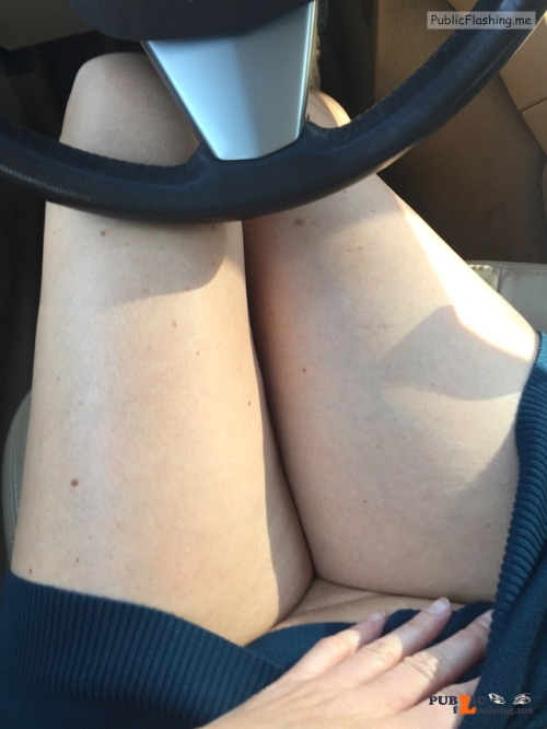 No panties @sluttymidwestmilf driving to work in a short skirt without... pantiesless Public Flashing