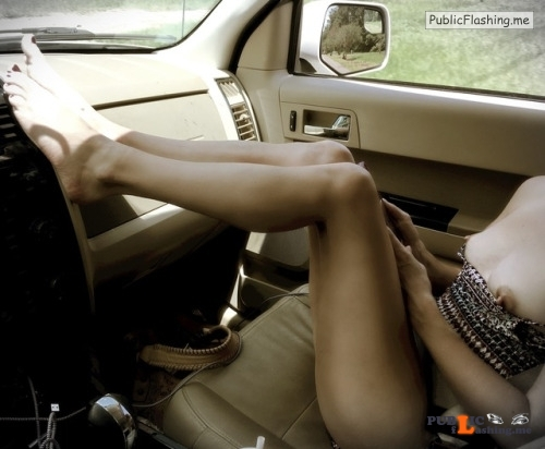 No panties lookpetite: Road Trip pantiesless Public Flashing