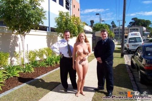 Public nudity photo ilja1:Office slut walking with collegues outside proudly showing... Public Flashing