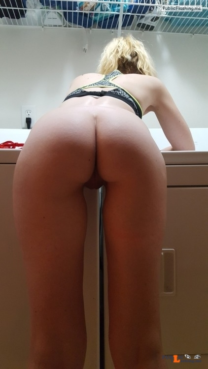 No panties naughtygf2share: Just taking care of some laundry ? Ran out of... pantiesless Public Flashing