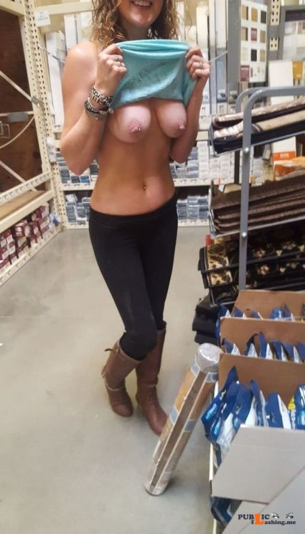 Public exhibitionists nudeandnaughtyflashing: Having some fun in the hardware store Public Flashing