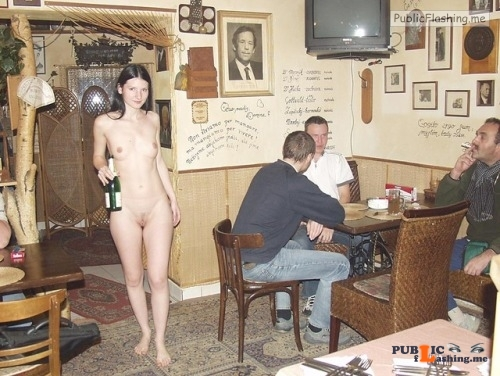 Public nudity photo nakedgeekgirl: onlyonen: Naked waitress Helga I did the naked... Public Flashing