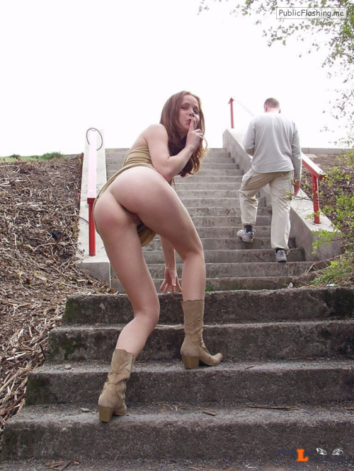 Public nudity photo carefreenaked:In a park in a short dress and showing her... Public Flashing