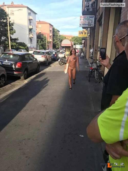 Public nudity photo exposed on public:Naked girl walking in Bologna, Italy... Public Flashing